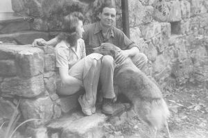 Wilma Dykeman Stokely, James R. Stokely, Jr., and their dog, Wake, at Wakestone